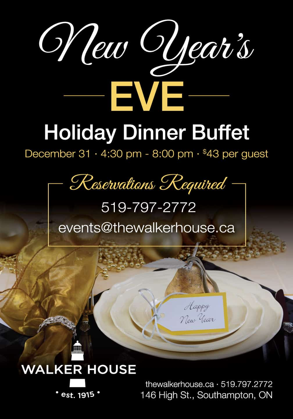 New Years Eve holiday dinner Party 2019